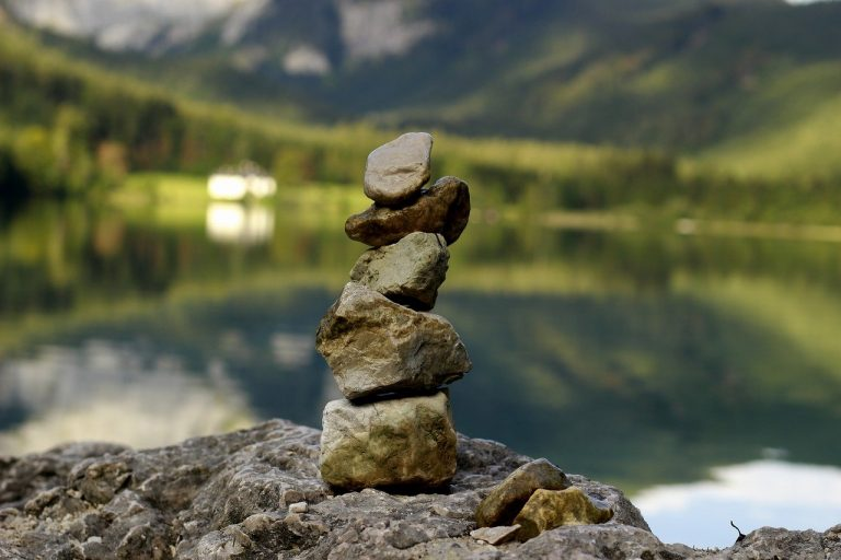 stone tower, relaxation, yoga