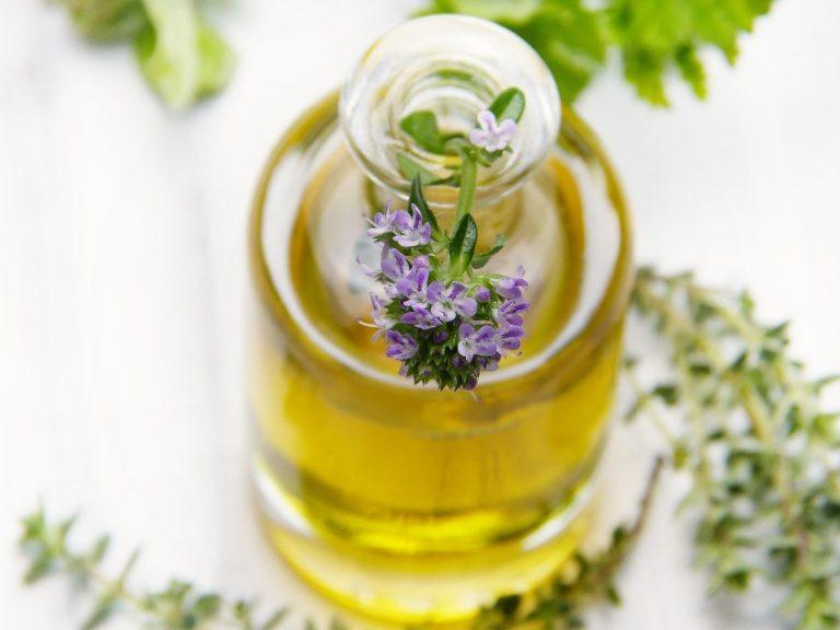 oil, bottle, thyme