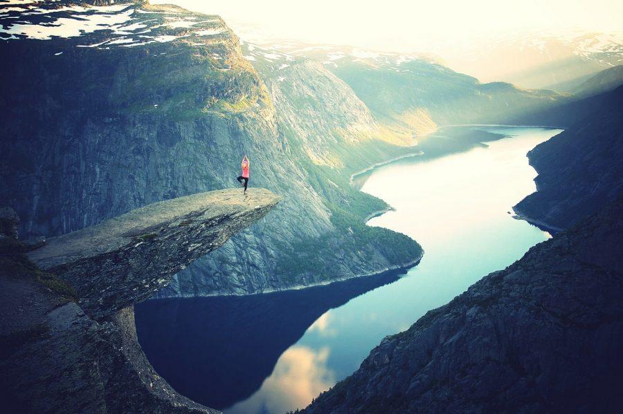 rock, cliff, high